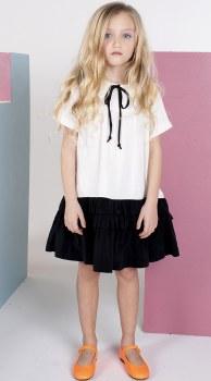 Dress W/ Collar White/Black 14