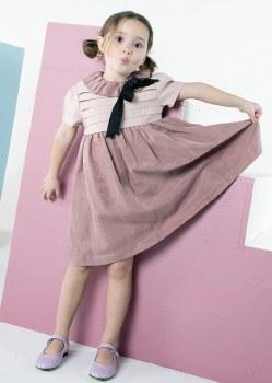 Dress W/ Top Pleats Mauve 3 X