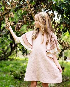 Ruffle Sleeve Dress Blush 14