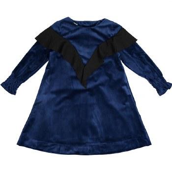 Velvet Ruffle Dress Blue/Black