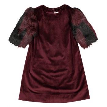 Dress w/ Fur Sleeves Merlot 10