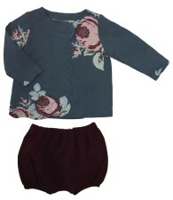 Floral Scallop Shirt Teal 36M