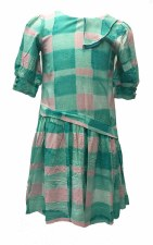 Asymetrical Gingham Dress Teal