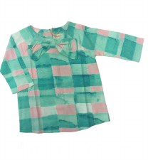 Bow Gingham Shirt Teal 10