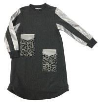 Dress w/ Fur Pockets Charcoal