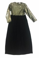Pleated Suede Robe Black/Gold