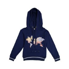 Map Hoodie Top Blue 5
