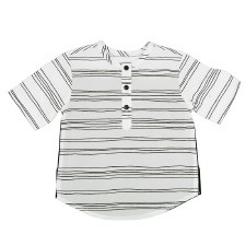 S/S Line Print Shirt Black/Whi
