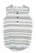 Line Print Romper Black/White
