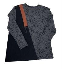Ribbed Hearts Tshirt Grey/Blac