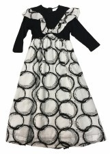 Circle Print Robe Black/White