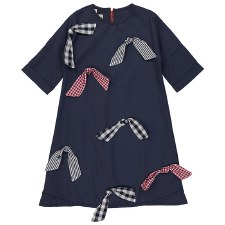 Dress W/ Gingham Bows Navy 7
