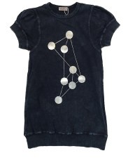 Ribbed Denim Dot Dress Dark 4