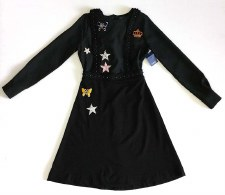 Teen Dress W/ Appliques Black