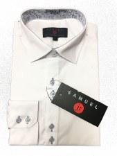 L/S Shirt W/ Trim White/Black