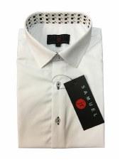 Slim S/S Shirt W/ Trim White 6