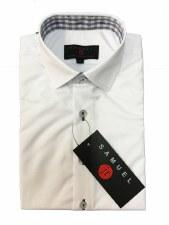 Slim S/S Shirt W/ Trim White/B