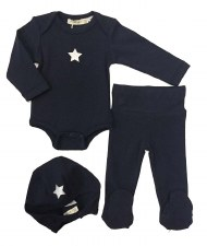 Ribbed FRAGILE Baby Set Navy 1