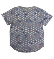 Bird Print Shirt Blue 6