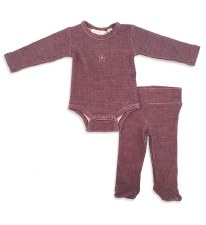 Ribbed 2pc Baby Set Wine 12M
