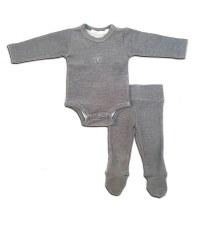 Ribbed 2pc Baby Set Grey 12M