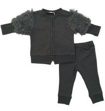 Baby Set W/ Fur Sleeves Grey 9