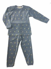 Velour PJ W/ Gold Cherries Blu