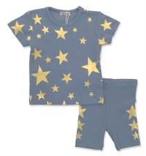 S/S Gold Stars Set Blue 24M