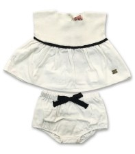Knit Combo Bloomer Set White 6