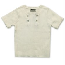 Ribbed S/S Buttons Sweater Cre