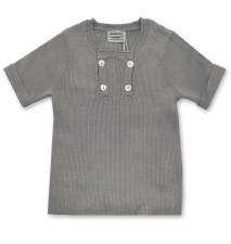 Ribbed S/S Buttons Sweater Gre