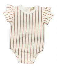 Metallic Striped Romper Bisque