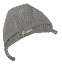 Ribbed Knit Bonnet Grey 3-6M