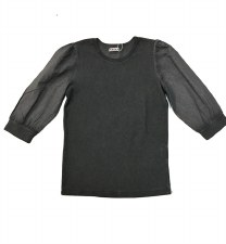 Denim Wash Puff Sleeve Tshirt