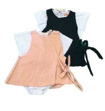 Romper W/ Sidetie Pink/White 3