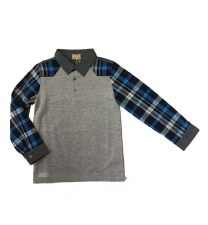 Polo W/ Plaid Sleeves Grey 16