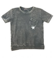 S/S Denim Wash Star Tee LtGrey