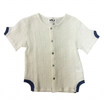 Crinkle Shirt W/ Trim White 5