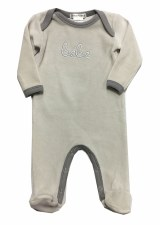 Velour Bebe Stretchie Grey 0-3