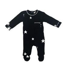 Velour Stars Stretchie Black 3