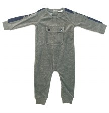 Velour Romper W/ Pocket Grey 6