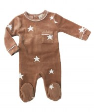 Velour Stars Stretchie Pink 3M