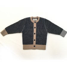 Ribbed Cardigan Black/Camel 2