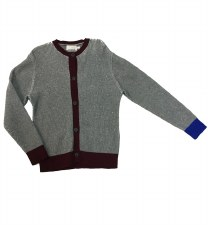 Ribbed Cardigan Grey/Wine 18M