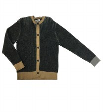 Ribbed Cardigan Black/Camel 6
