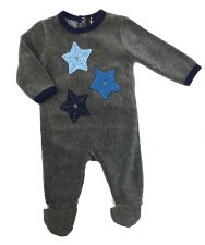 Velour Stretchie W/ Stars Grey