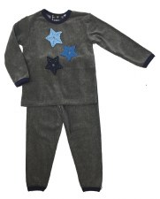Velour PJ W/ Stars Grey/Blue 3