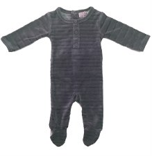 Striped Velour Stretchie Grey