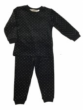 Ribbed Velour PJ w/ Dots Black