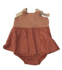 Ribbed Romper W/ Ruffle Coral